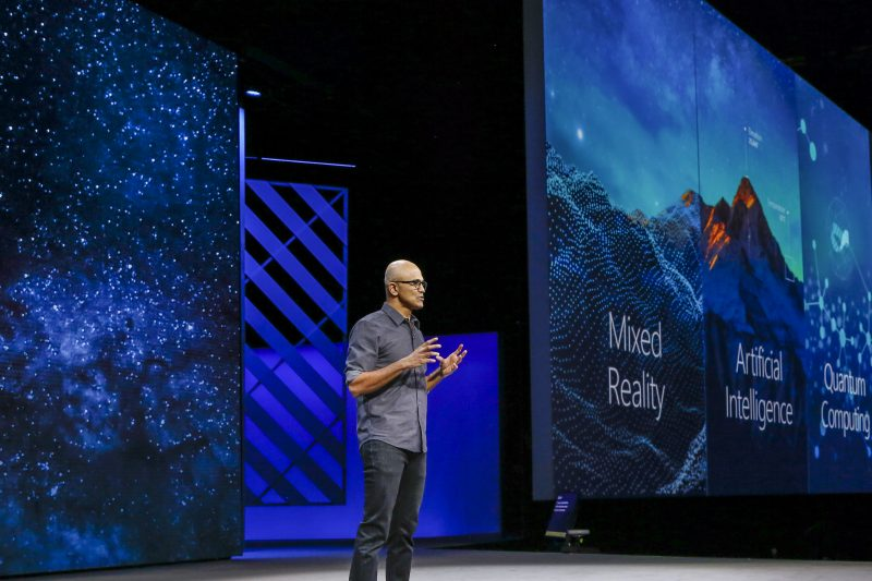 Satya Nadella addressing the crowd at Ignite 2017